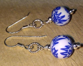 Blue And White Clay Sterling Silver Scrolled Earrings   -  Handcrafted