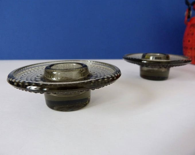 Vintage glass candle holders by Oiva Toikka for Nuutajarvi Notsjo of Finland