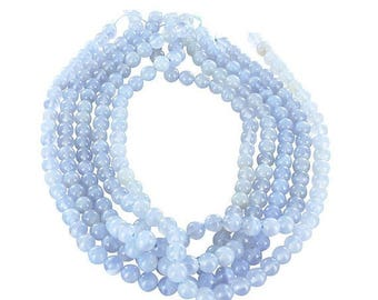 """20% Off Sale : ) BLUE CHALCEDONY BEADS 8mm Round 16"""" New World Gems"""