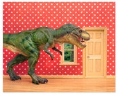Fun T. Rex dinosaur decor art print for kids rooms: Pizza Delivery