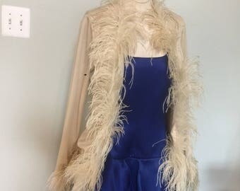 Vintage 70's Jacket with ostrich feathers Trim Saks Fifth Ave