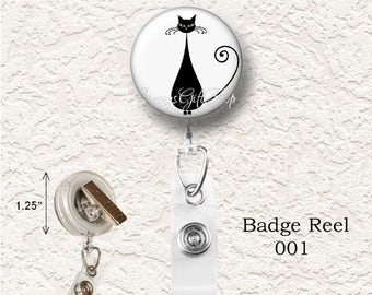 "Cat Badge Reel, Retractable, 1.25"" Size, Choose your Favorite from the 4 Different Prints, Buy 3 Badges Get 1 Badge Free   024BR"