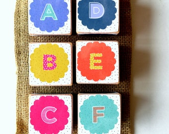 Bright Colored Alphabet Wood Building Blocks and Numbers 0 - 9, set of 6 , Wooden Blocks, Nursery, Baby's Room, Customize, Learning blocks