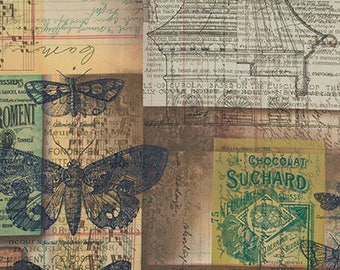 Eclectic Elements by Tim Holtz for Coats - Full or Half Yard Melange Vintage look Butterflies