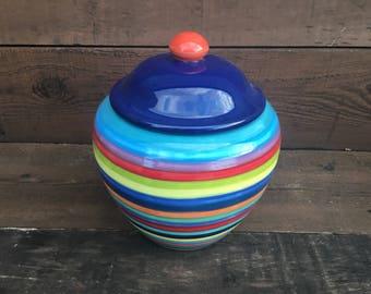 Extra Large Striped Ceramic Cookie Jar or Canister - Rainbow Stripes with Dark Teal Interior - Dark Navy Blue Lid - Salsa Orange Knob