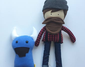 Paul Bunyan Doll and Babe the Blue Ox Set Of Fabric Dolls Rag Doll Minnesota Dolls Lumberjack Doll Bearded Doll Daddy Doll Her Bunnies Three