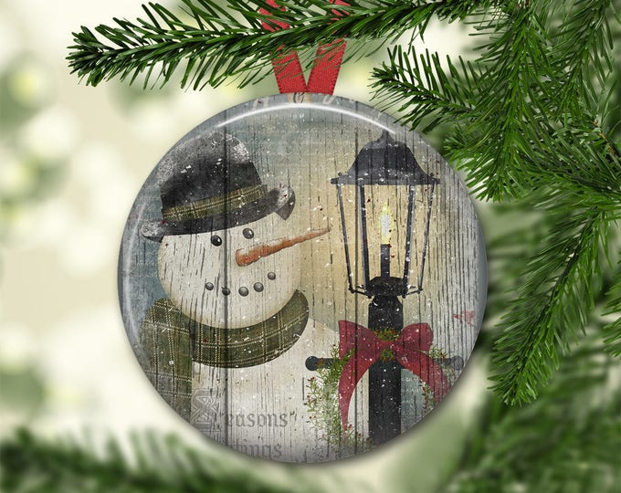 Prim snowman ornament for tree - Christmas decorations for tree - primitive  Christmas tree ornaments -  ORN-44