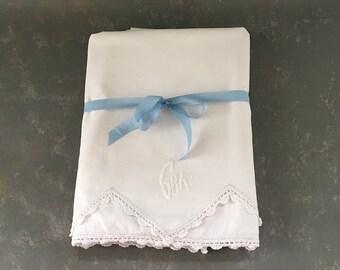 Vintage Monogrammed Embroidered Pillowcases, set, initials GBK, white on white