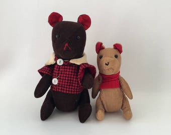 Vintage Stuffed Bears, corduroy, clothed, the doll shop, tucson, two