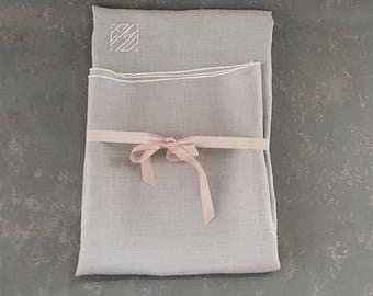 Vintage Gray Linen Tablecloth, monogrammed, EMD, square, 34 inch, monogram, initials