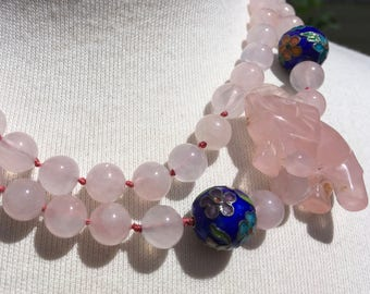 Rose Quartz Hand Knotted Bead Cloisonne Necklace – Carved Figural Elephant