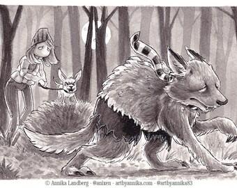 Original InkTober 2017 drawing Day 14 Fierce Illustration