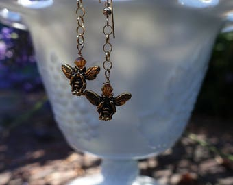 Honey Bee & Swarovski Crystal 14K Gold Fill Earrings