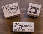 RUBBER STAMP - happiness is handmade, handmade sewing machine, find beauty in the simple things