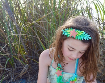 Small Mermaid Crown, Little Felt Headband, Mermaid Birthday Party, Ocean Birthday, Dress up, Pretend Play, Starfish Flower Crown, Girls Gift