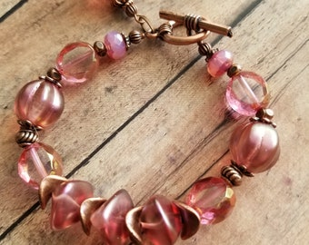 Romantic beaded bracelet/ Vintage look bracelet/ Antique pink glass/Handmade bracelet/Serenitybymisti bracelet