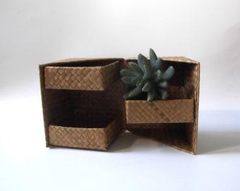 Boho Jewelry Box, Wicker Storage Box, Woven Palm Leaf Box, Wicker Air Plant Holder,  Boho Decor, Bohemian Modern