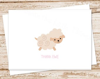PRINTABLE baby girl thank you cards . sheep note cards . thank ewe . folded cards . stationery . stationary . notecards . INSTANT DOWNLOAD