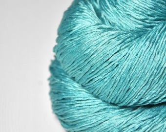 Cyan which must not be named - Silk Fingering Yarn