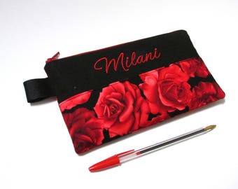 Handmade pencil bag with zipper - Red Roses  - zipper pouch - embroidery monogram name - storage bag - back to school - Gifts ideas for her