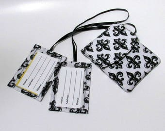 Handmade Passport cover and two matching luggage tags - Black and White fleur de lis - Ready to ship - Travel gift ideas for her birthday