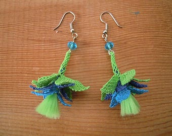 oya earrings, green blue needle lace dangles