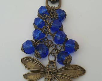 Blue Crystal Dragonfly Keychain/Bag Charm