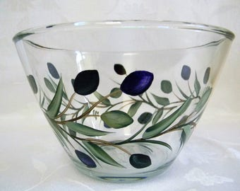 Serving bowl,glass serving bowl,hand painted serving bowl, bowl with painted olives, vegetable bowl,