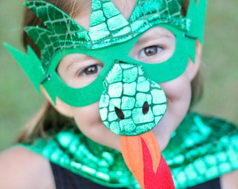 Halloween Ready GREEN DRAGON MASK - Shiny Scales - Kids Halloween Dragon Costume - Option to add additional pieces