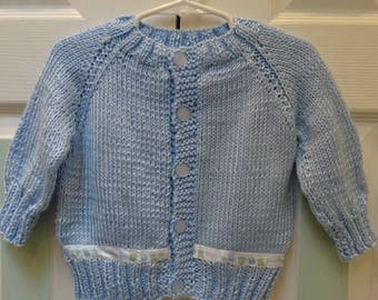 INFANTS BLUE SWEATER,  Satin ribbon trim says, 'it's a Boy', Size 0 - 6 months, 5 blue pearl buttons,light weight,soft acrylic yarn