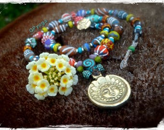Prosperity SUN Necklace colorful jewelry SURYA necklace Afrocentric jewelry Clay beads Yoga jewelry Tribal nomad Tibetan necklace GPyoga