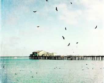 Beach Art, Pier, Beach House Art, boat artwork, Ocean Artwork, Fine Art Photo, Square Photo, square artwork, Large Artwork