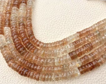 8 Inch Strand, Superb-Natural Shaded Champagne TOPAZ Faceted Tyres, 9mm Long,Great Quality at Wholesale Price .