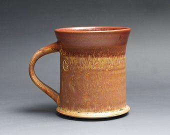 Handmade pottery coffee mug tea cup 14 oz, mottled cinnamon tea cup 4093