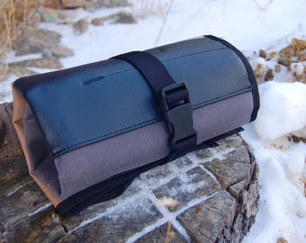 Mega Tool Roll - Black, Gray and Tan with Sky Blue Lining and Black Trim