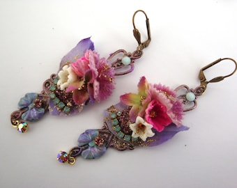 floral earrings, dangle earrings shabby romantic and floral