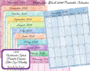 Printable Calendar 2018, Watercolor Splash Art, Letter Size 8.5 x 11, JPG 300 dpi, Instant Download