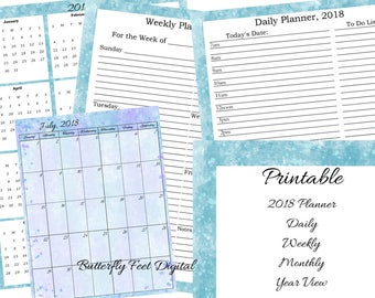 2018 Printable Planner, Full Set Includes Monthly, Daily, Weekly, Yearly, Paint Splash Abstract Art, Instant Download