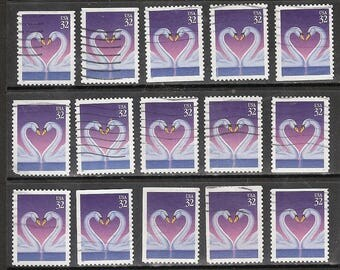 25 LOVE SWANS (Swans Form a Heart) Stamps Used & Cancelled U.S. Postage Stamps  Purple and White