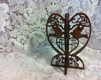 Ten 3D Standing Doves with Calvary Cross Wedding Favor