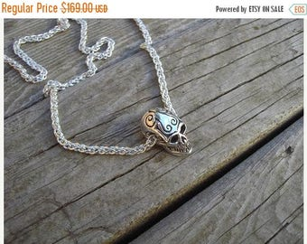 ON SALE Sugar skull necklace in sterling silver