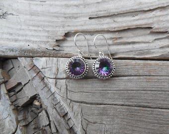 Mystic topaz earrings handmade in sterling silver 925