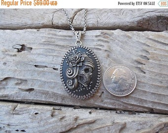 ON SALE Day of the dead sugar skull cameo necklace handmade in sterling silver 925