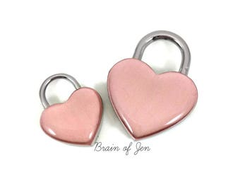 Rose Gold and Silver Heart Shaped Padlock BDSM Lock Submissive Jewelry