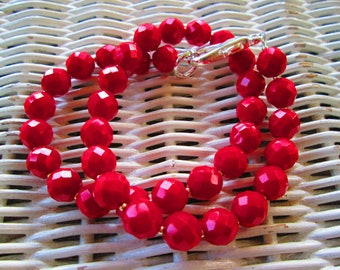 10mm red faceted beaded handmade necklace