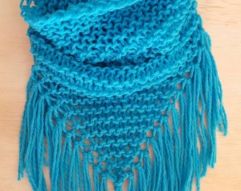 Hand Knit Poncho Cowl in Turquoise Blue