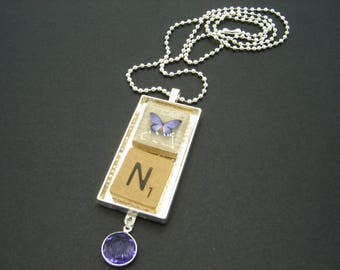 Purple Butterfly Personalized Scrabble Tile Initial Pendant - free shipping