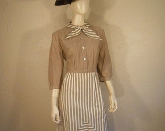 Anniversary Sale 35% Off She is His Every Day Gal - Vintage 1950s Beige Stripe Faux Apron Secretary Dress - 12/14