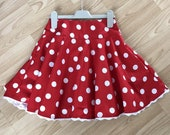 Minnie Mouse inspired skirt, in children size, with elasticated waist in a red and white polka dot style and optional lace edge
