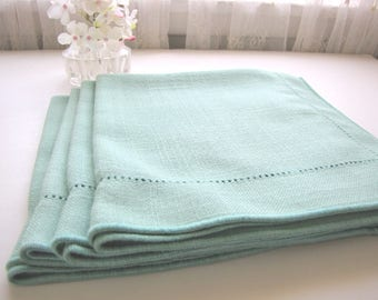 Vintage Irish Linen Napkins Set of Four Green from AllieEtCie
